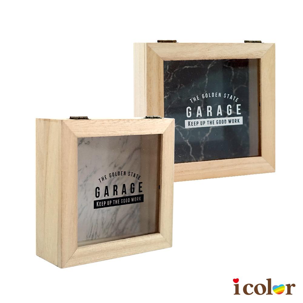 大理石紋方型收納木盒