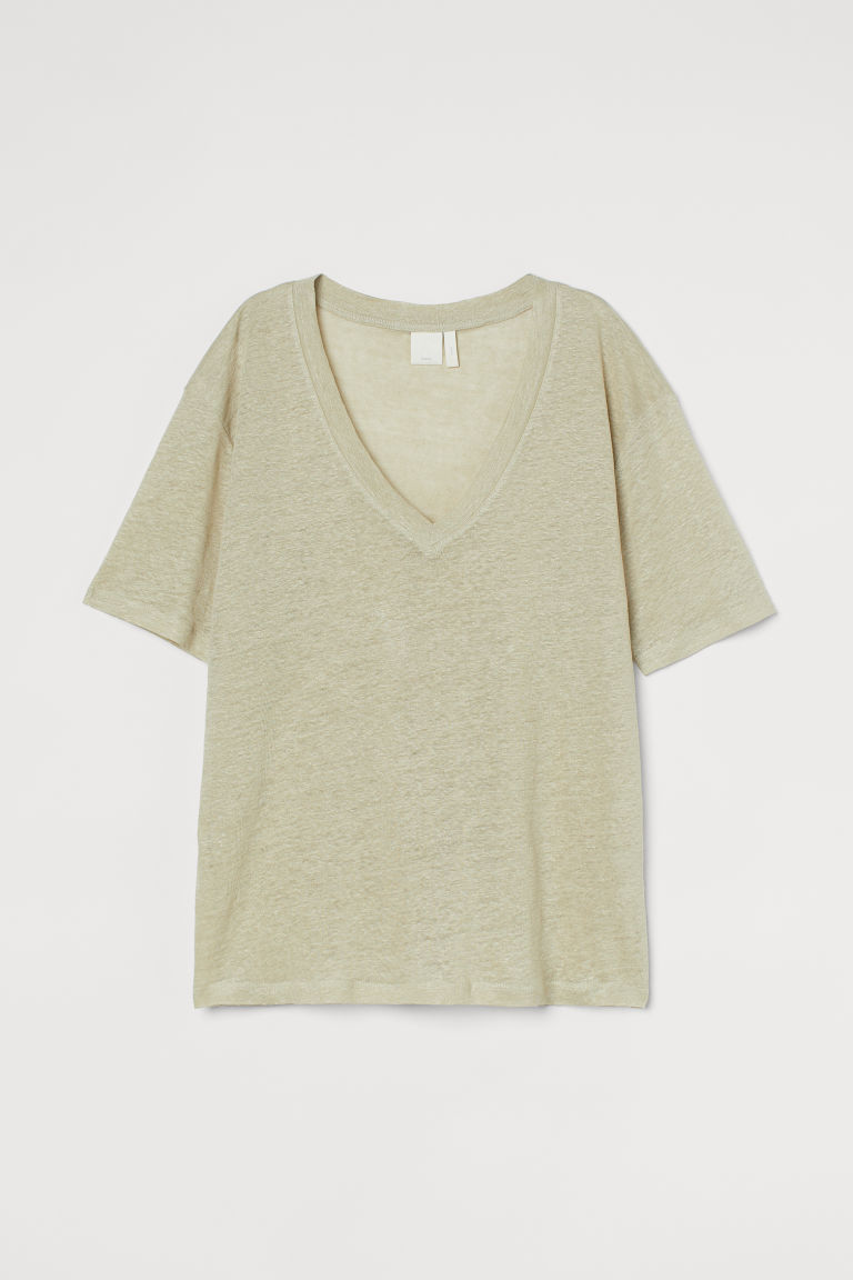 H & M - 亞麻T恤 - 綠色