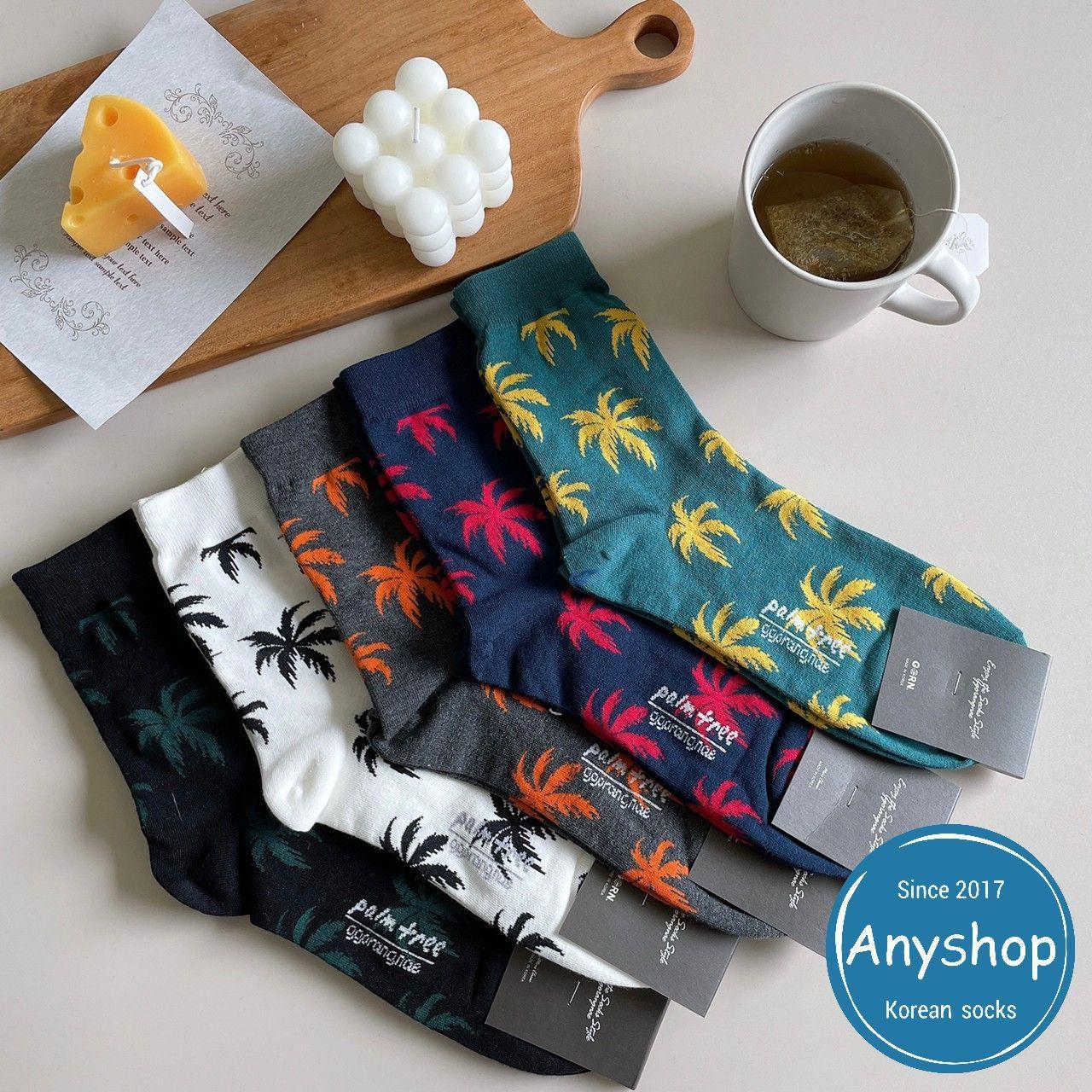 韓國襪-[Anyshop]椰子樹樹葉男襪