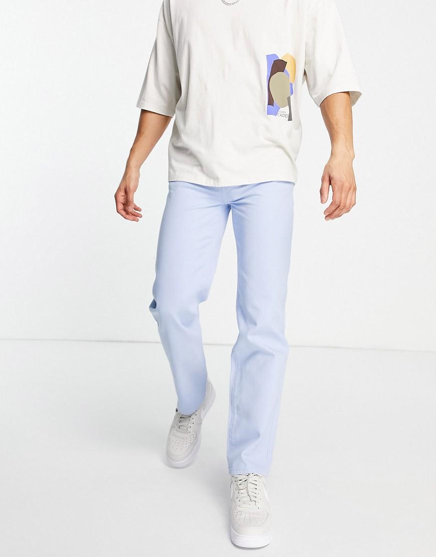 Mennace aftermath straight leg denim jeans in light blue