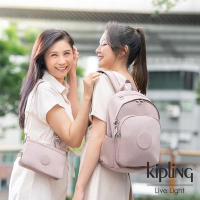 Kipling 溫柔沉穩粉上方拉鍊後背包-DELIA