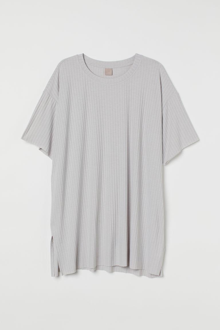 H & M - H & M+ 羅紋平紋T恤 - 灰色