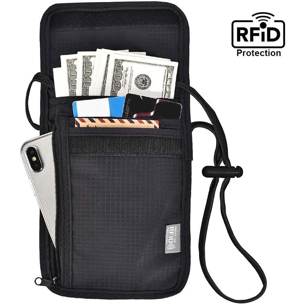 iware RFID掛頸防搶包 防掃描卡片側錄 隨身隱形防盜包斜背包 護照包證件夾 旅行旅遊收納包護照夾
