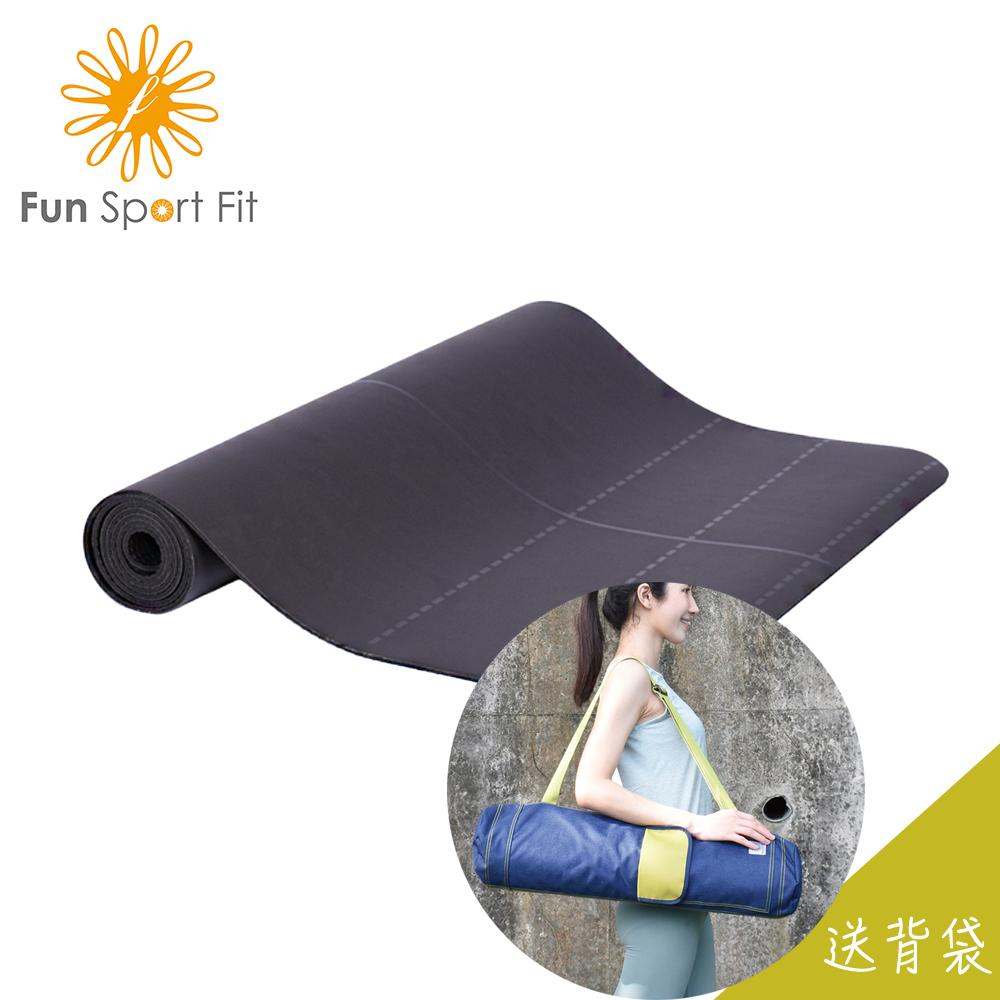 Fun Sport yoga-快樂島 高效PU皮革正念瑜珈墊-黑(輔助現款)-送吉尼亞瑜珈背袋