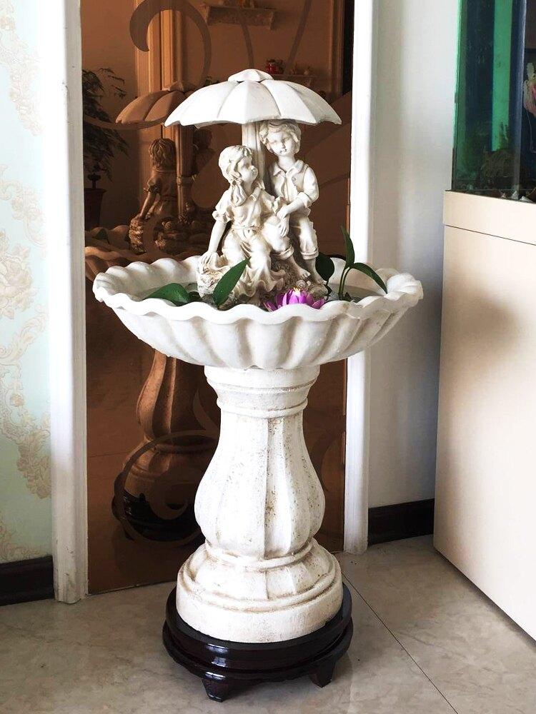 歐式流水噴泉水景花園裝飾庭院擺件家用客廳加濕白色婚慶用品花園