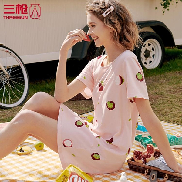 三槍睡裙 女 睡衣夏季純棉印花 水柔密棉圓領短袖女士家居裙70339 艾瑞斯「快速出貨」