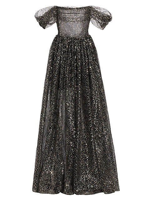 Off-the-Shoulder Draped Sequined Tulle Gown