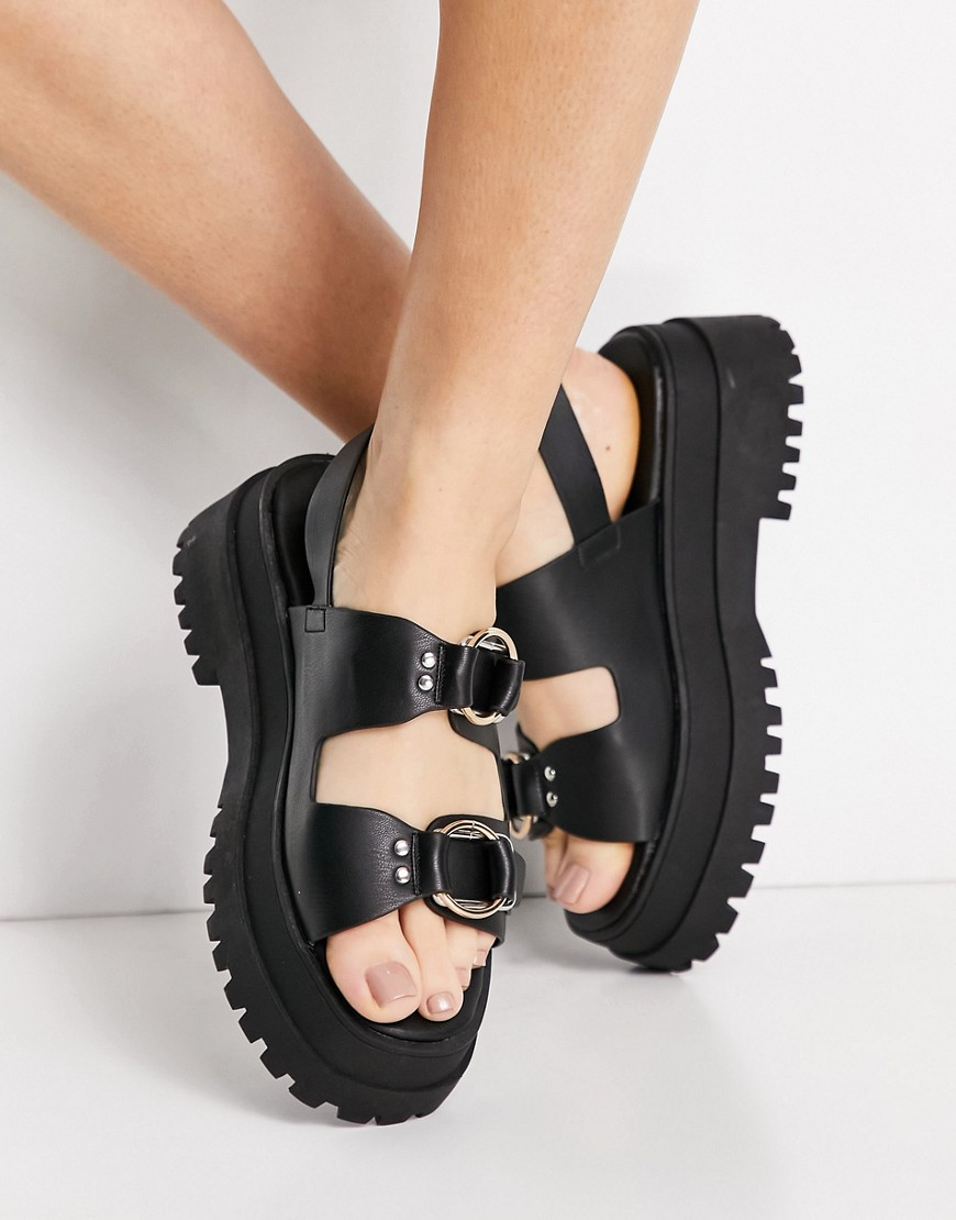 London Rebel chunky double buckle sandals in black