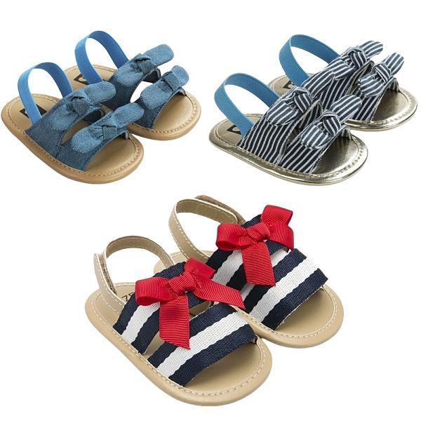 寶寶夏季海軍風學步鞋 學步涼鞋 透氣涼鞋 蝴蝶結公主鞋 百搭嬰兒鞋 88306