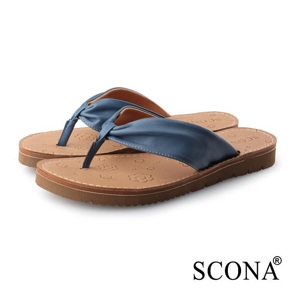SCONA 蘇格南 全真皮 簡約夾腳涼拖鞋 藍色 31117-1