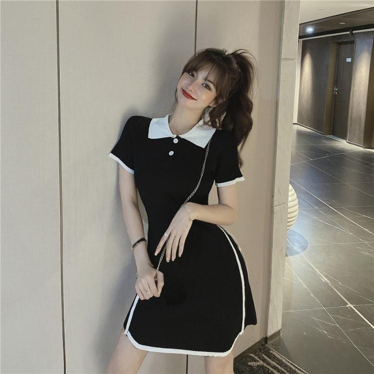襯衫洋裝 夏季新款復古港味POLO領裙子撞色收腰顯瘦短袖針織短裙氣質連身裙 摩可美家