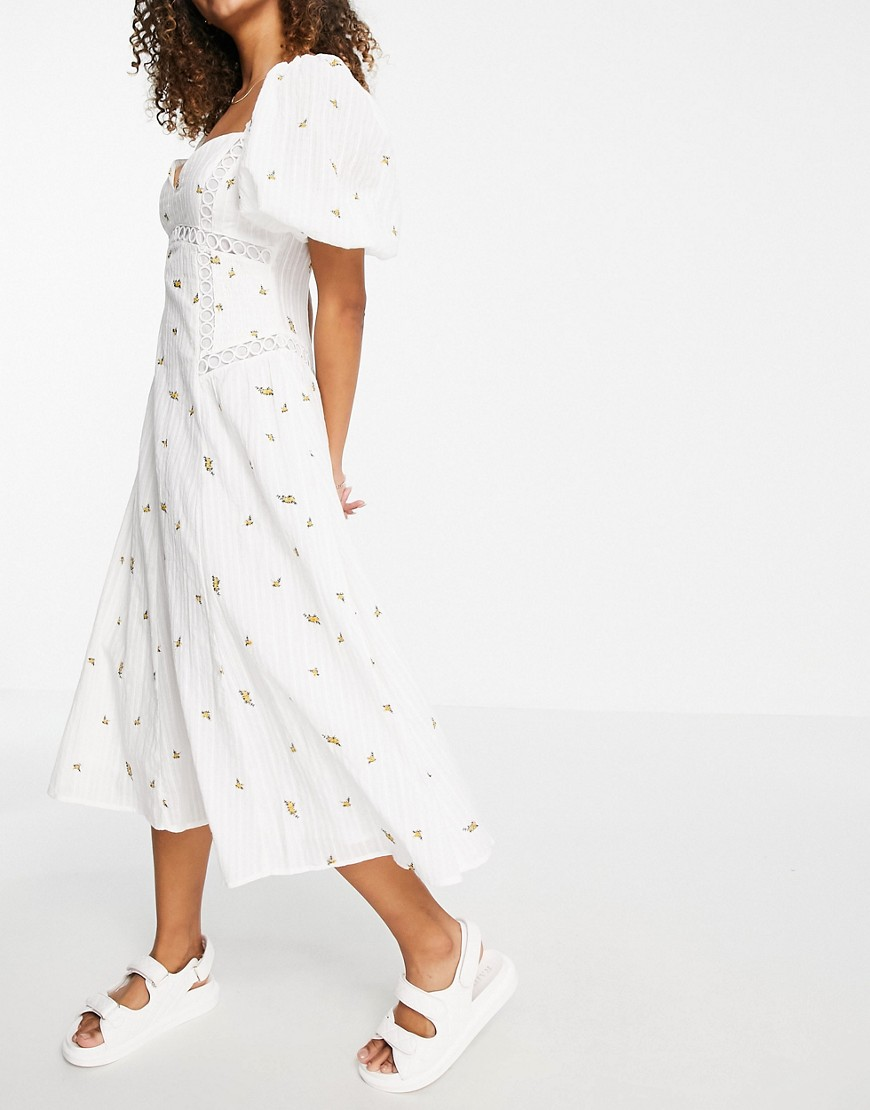 ASOS DESIGN Premium puff sleeve trapeze midi dress with shirred sides in ditsy embroidery-White