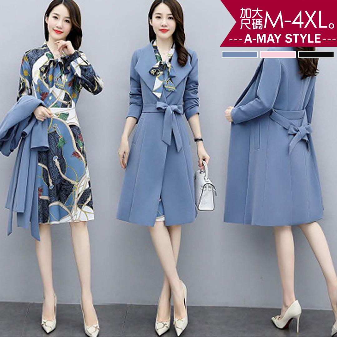 加大碼兩件式-優雅領結印花洋裝風衣套裝(M-4XL)【XTA82678】*艾美時尚(現+預)