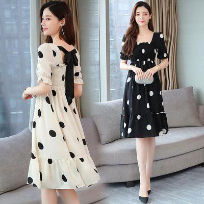 洋裝 裙子實拍 S-XL氣質顯瘦方領泡泡袖高腰雪紡裙a字波點連衣裙T105.8786愛尚依人