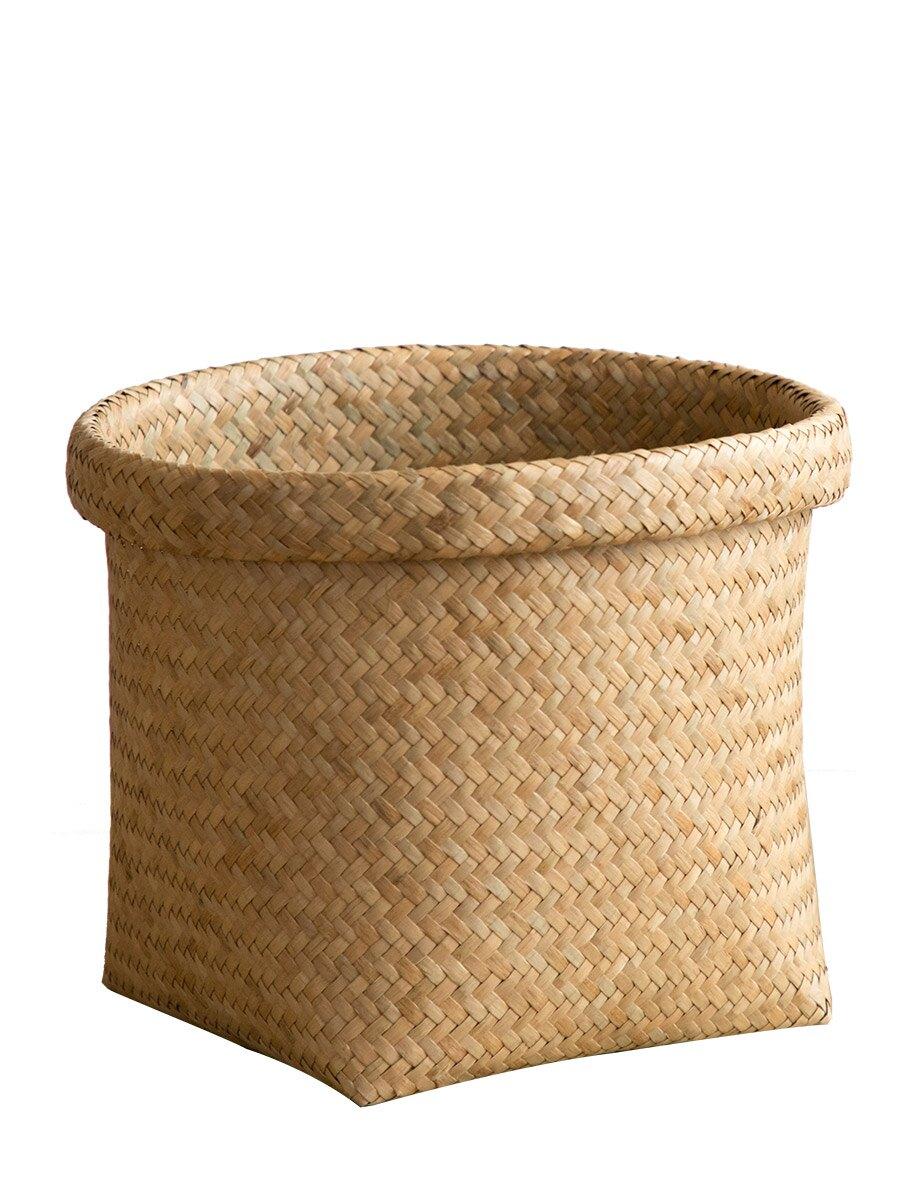 異麗草編收納筐桌面藤編雜物洗漱用品置物收納籃子田園編織儲物盒