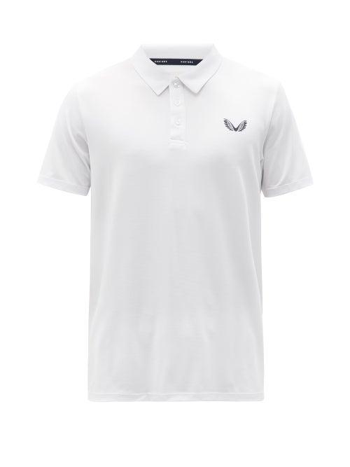 Castore - Logo-print Mesh-jersey Polo Shirt - Mens - White