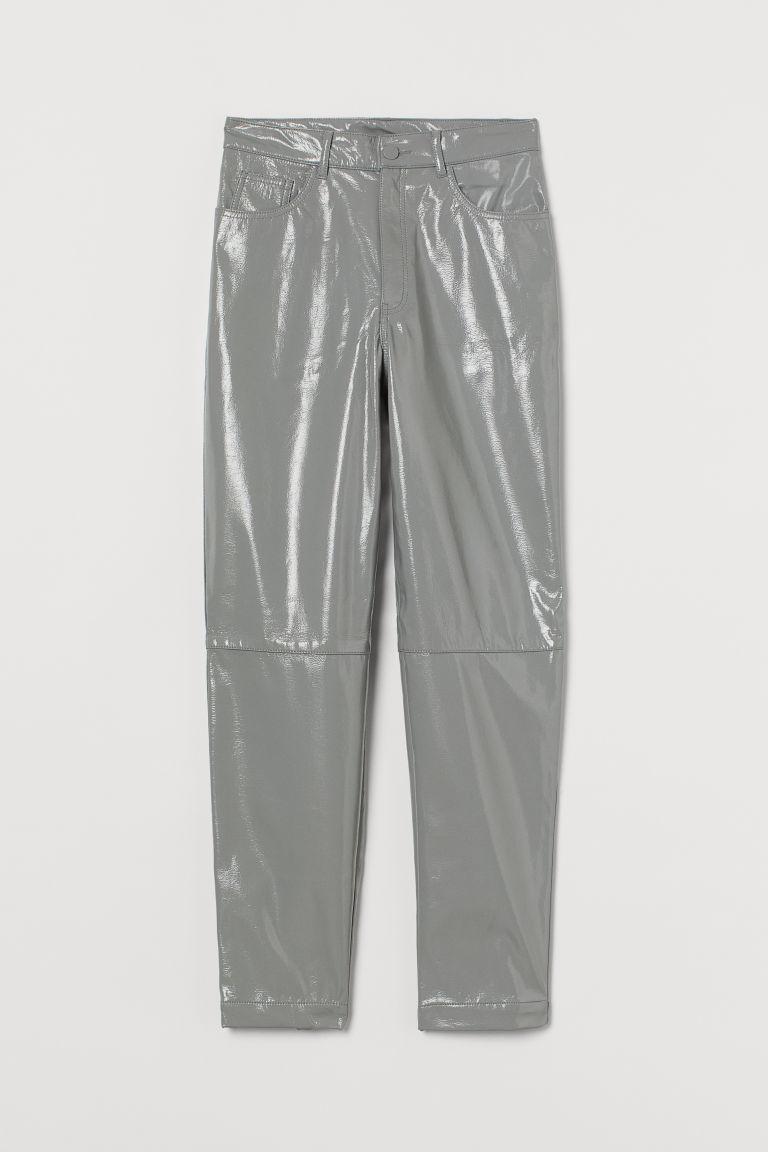 H & M - 仿皮長褲 - 灰色