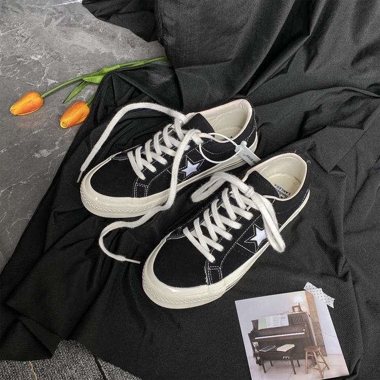 帆布鞋 帆布鞋女2021春季新款星星鞋ulzzang百搭板鞋子女ins潮鞋韓版女鞋生活 摩可美家