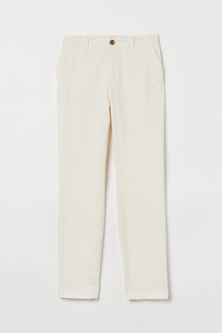 H & M - 棉質卡其褲 - 白色