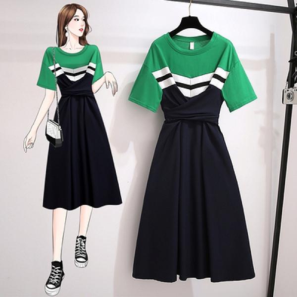 洋裝連身裙短袖裙子L-4XL胖妹妹大碼女夏裝短袖減齡遮肚子拼接收腰顯瘦洋氣連身裙MA150韓衣裳