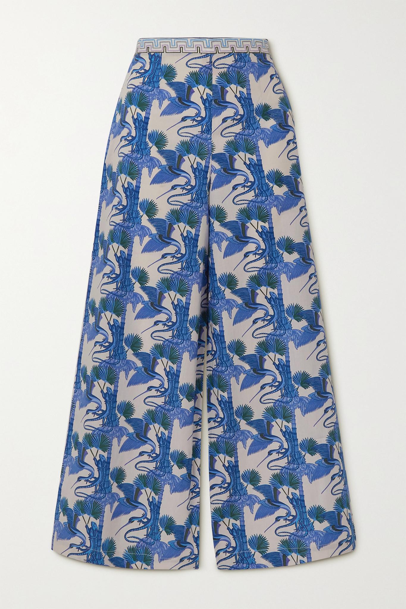 LE SIRENUSE POSITANO - Natalie Love Story Printed Cotton-poplin Wide-leg Pants - Blue - IT44