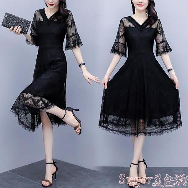 蕾絲洋裝 胖MM黑色蕾絲連身裙2021年初夏大碼女裝中長款縷空顯瘦短袖裙子  新品