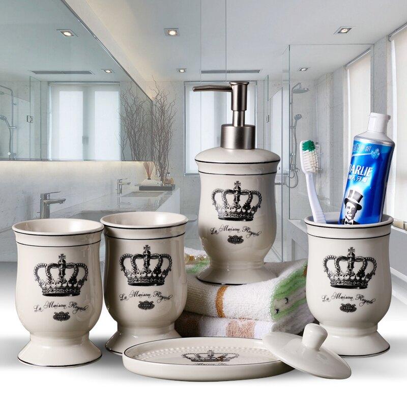 北歐簡約浴室用品陶瓷衛浴五件套歐式衛生間刷牙杯漱口杯洗漱套裝