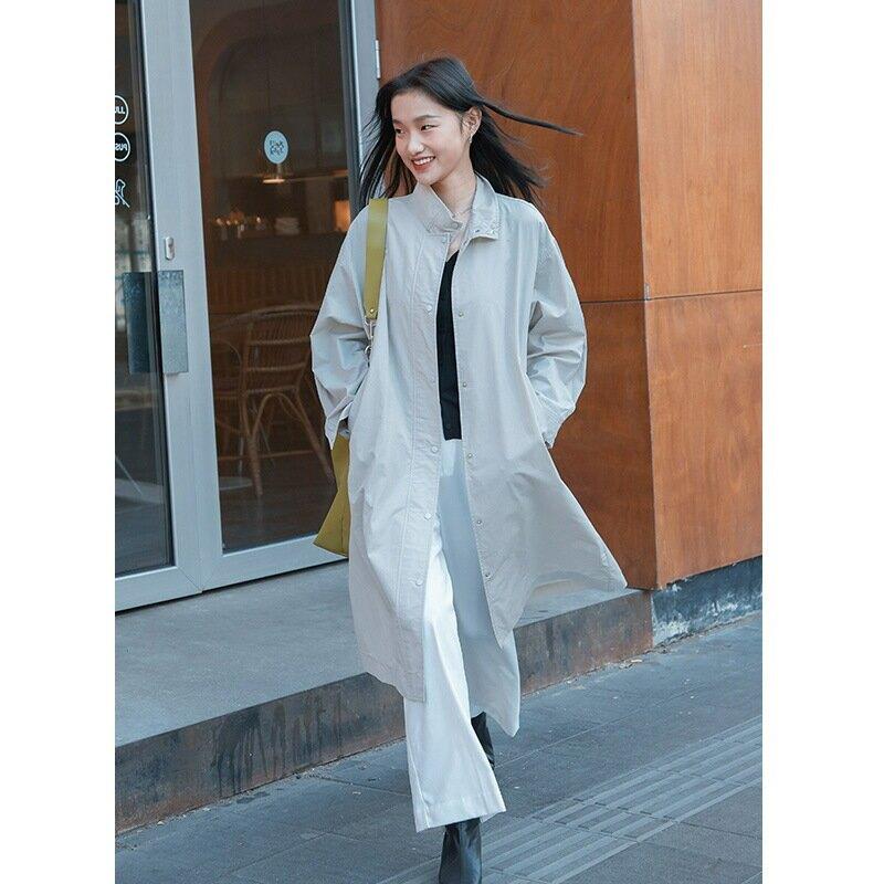 2021春季女裝風衣外套韓版新款氣質純色時尚女式休閒外套女