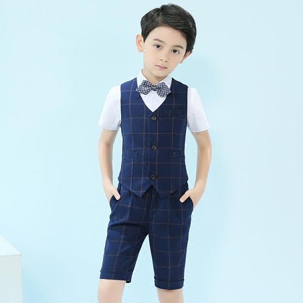 兒童禮服花童男童演出服套裝夏裝英倫風韓版小童男孩表演服裝帥氣 幸福第一站