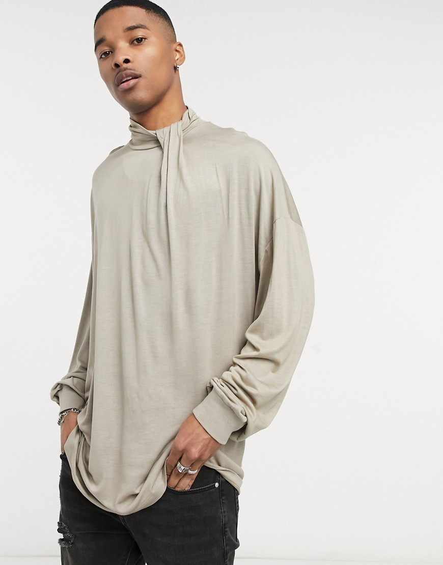 ASOS DESIGN oversized long sleeve t-shirt in viscose with neck detail in beige-Neutral