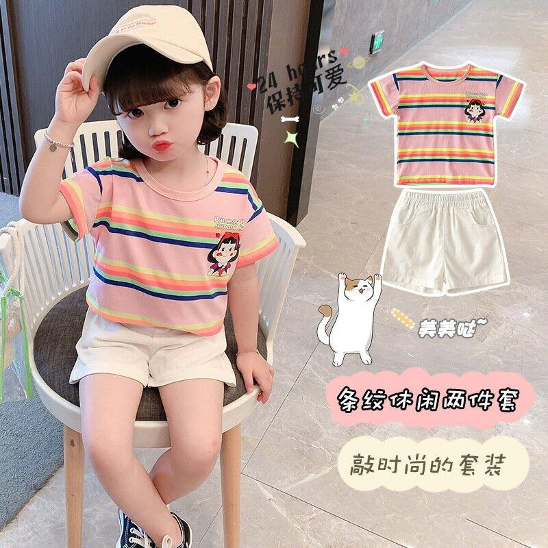 夏款童裝女寶寶套裝夏季新款時尚2021短袖短褲女童洋氣兩件套夏裝