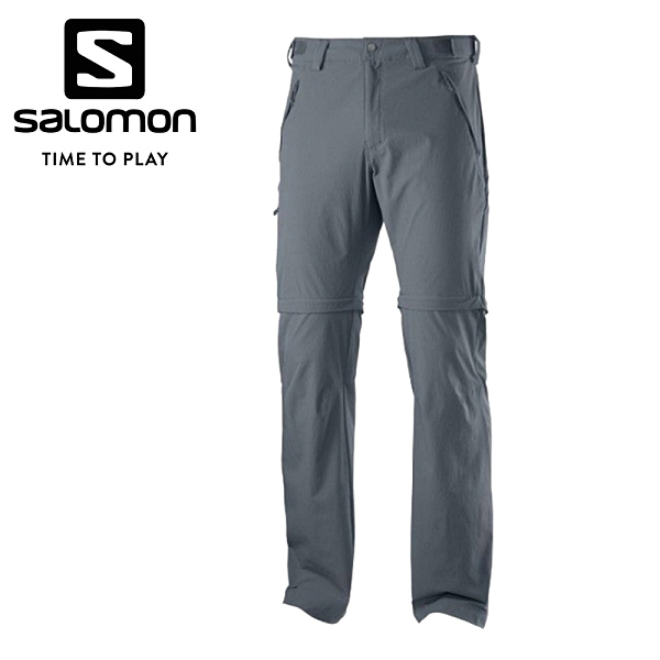 法國[Salomon] Wayfarer Zip 男款兩截式薄軟殼登山長褲 灰