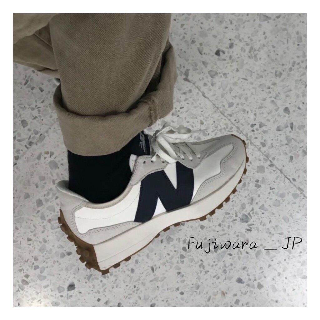 New Balance 327 復古 休閒鞋 皮革 白藍 焦糖底 女鞋 WS327KB 『Fujiwara_JP』