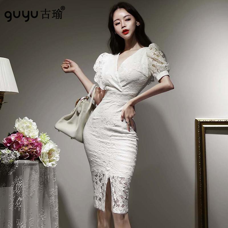 白色正韓蕾絲洋裝 S-XL高腰包臀小開衩短袖禮服及膝宴會洋裝