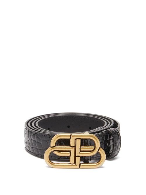 Balenciaga - Bb-plaque Crocodile-effect Leather Belt - Womens - Black