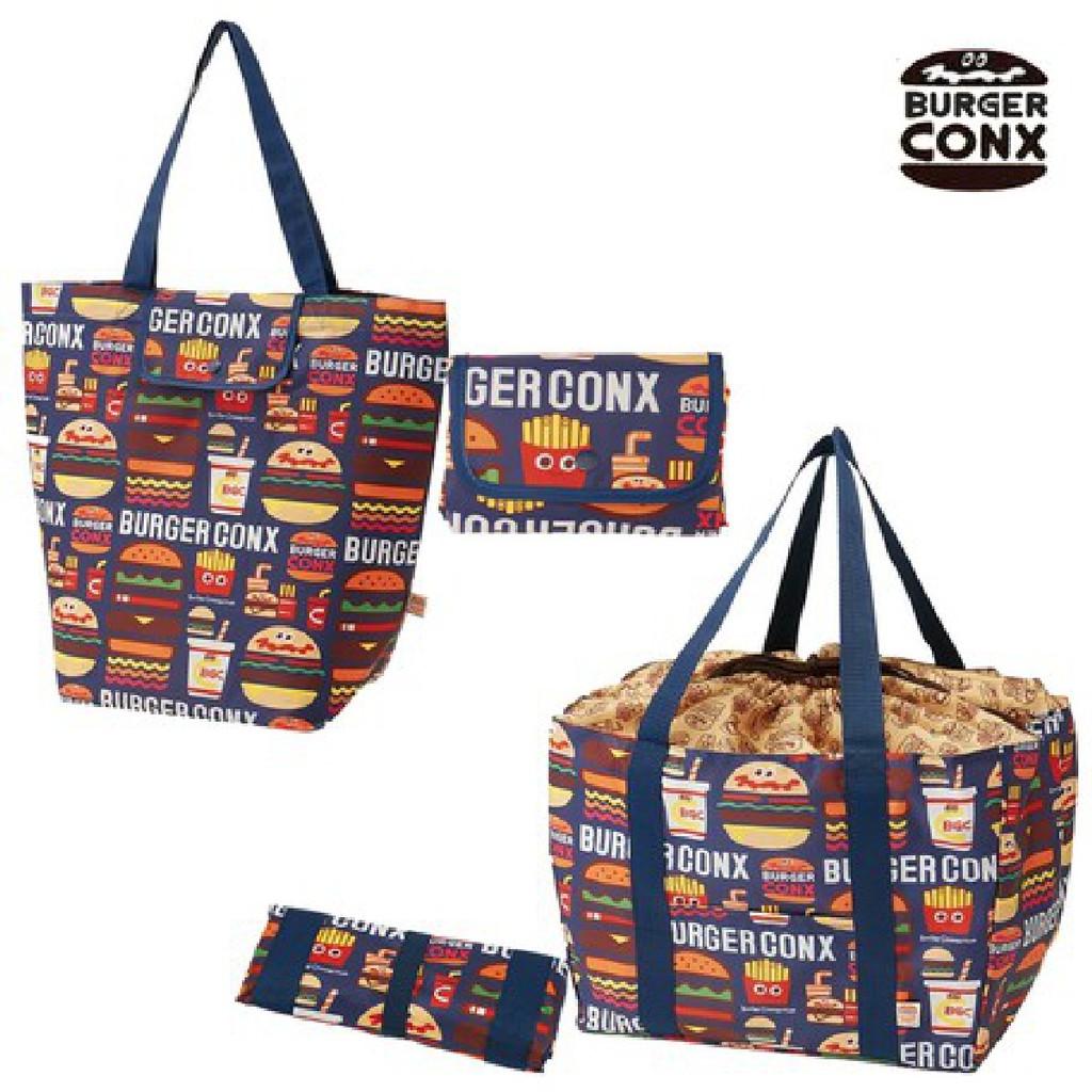 日本 BURGER CONX大容量易收納環保購物袋 抽繩式手提籃帶摺疊購物袋 購物環保袋 可折環保提袋速食風漢堡薯條可樂