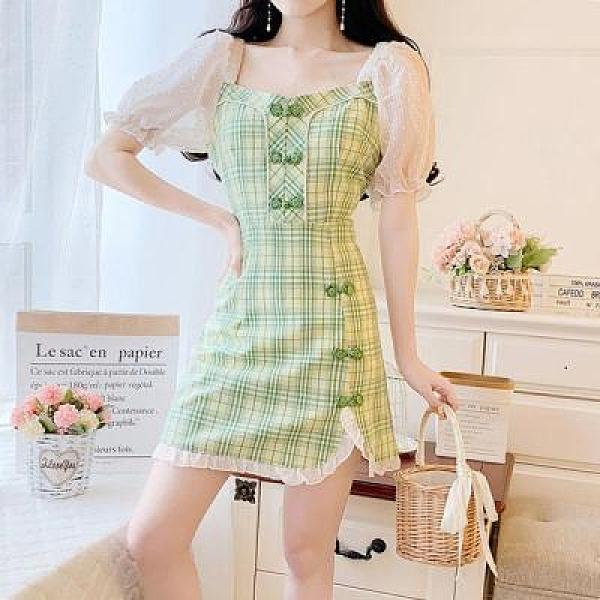 洋裝~韓版復古風旗袍改良版連身裙女氣質方領泡泡袖A字裙2F054-D胖妞衣櫥