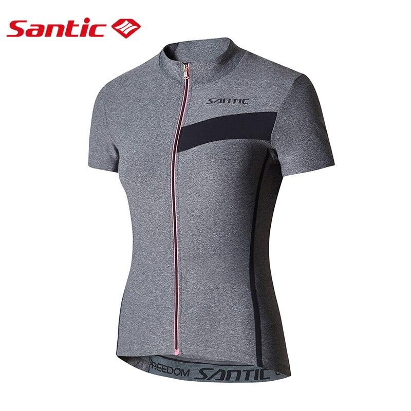 Santic女士騎行服短袖全拉鍊透氣反光山地車公路自行車襯衫夏季騎行服裝