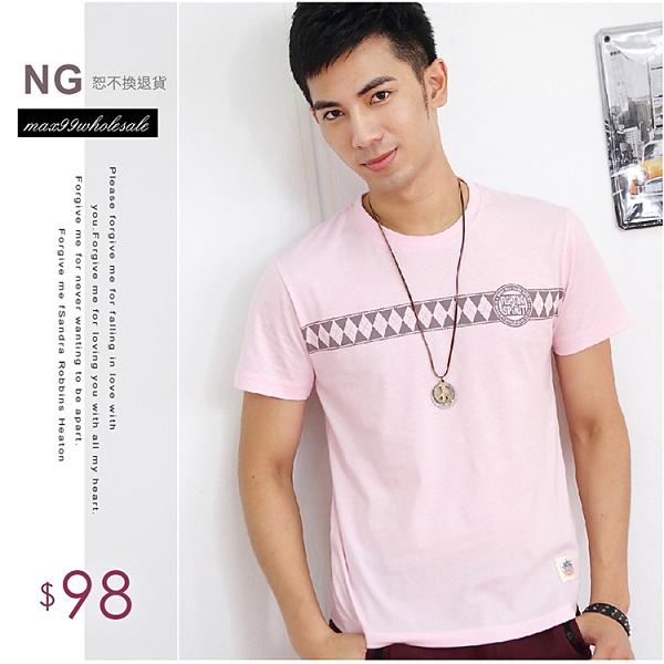 【大盤大】(T53973) 男 100%純棉短袖T恤 台灣製 M L NG無法退換 圓領TEE 居家工作服 夏 菱形圖T