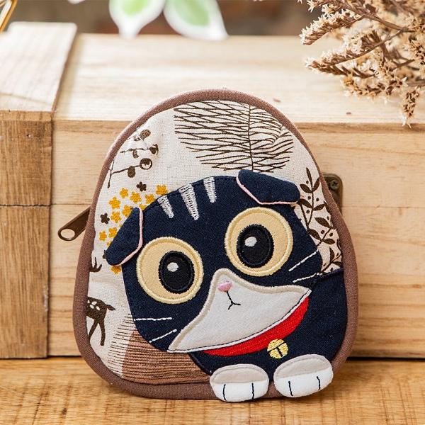 Kiro貓‧摺耳貓 拼布包 鋪棉 拉鏈小物收納/鑰匙零錢包【222798】
