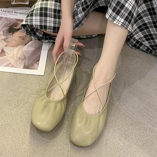 豆豆鞋 復古芭蕾單鞋女百搭2021年春夏季新款方頭平底淺口軟底奶奶豆豆鞋 童趣屋