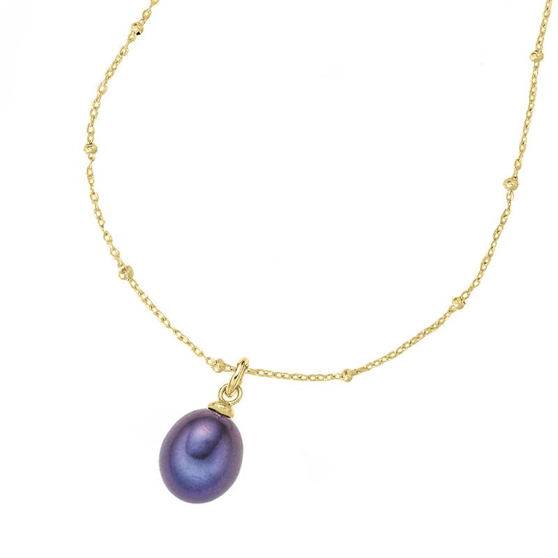 Timeless Adjustable Chain & 8mm Oval Peacock Pearl Pendant
