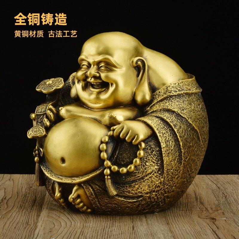 純銅彌勒佛像擺件一團和氣笑佛大肚佛供奉家用居家客廳工藝品QXL1 愛尚優品