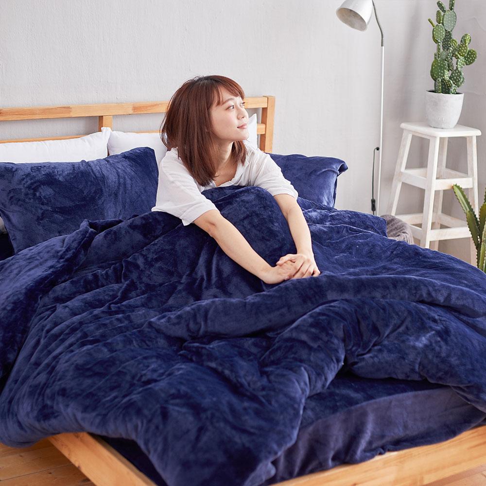 床包被套組-單人/雙人/加大/ 法蘭絨 / 尊爵藍