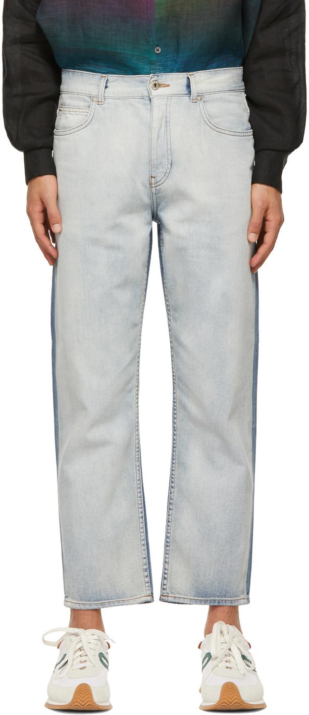 Loewe 蓝色 Paula's Ibiza 系列拼色牛仔裤
