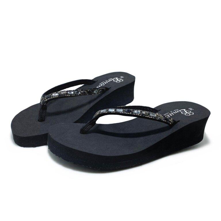 【滿額領券折$150】Limitless利米堤司 女款方鑽4cm厚底夾腳拖鞋 [3158] 黑 MIT台灣製造【巷子屋】