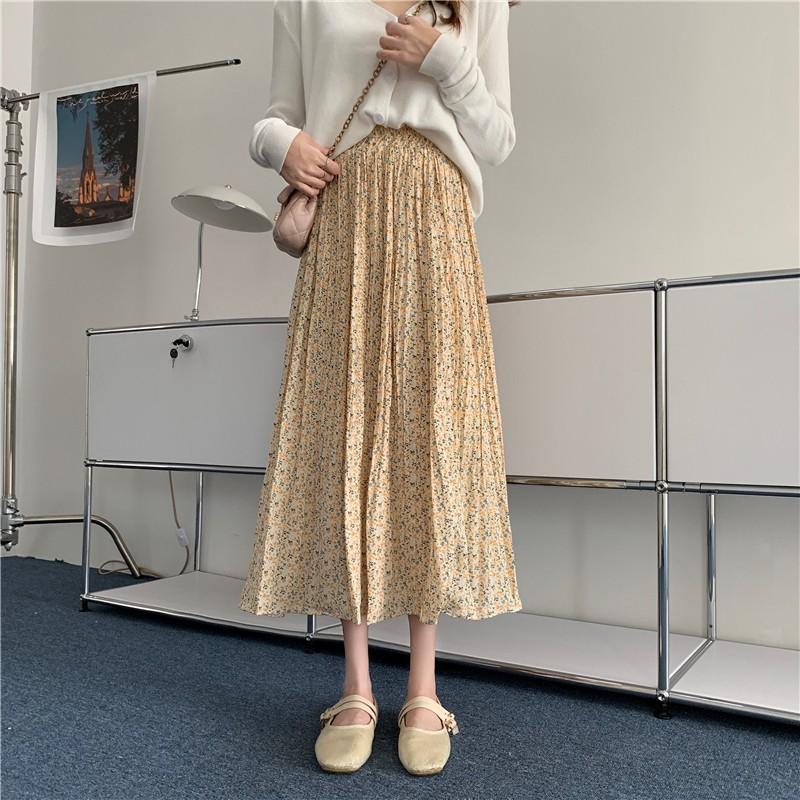 夏裝碎花半身洋裝 韓版高腰顯瘦長裙 百褶碎花半身裙 中長款a字裙女