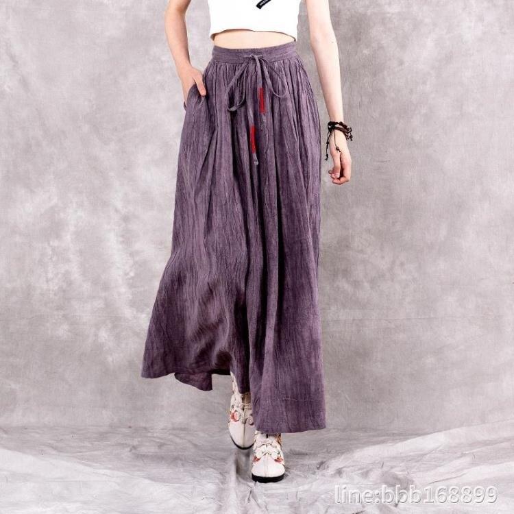 棉麻裙 復古半身裙女年新款春夏流行扎染半身長裙中國風棉麻亞麻裙子 DF 摩可美家