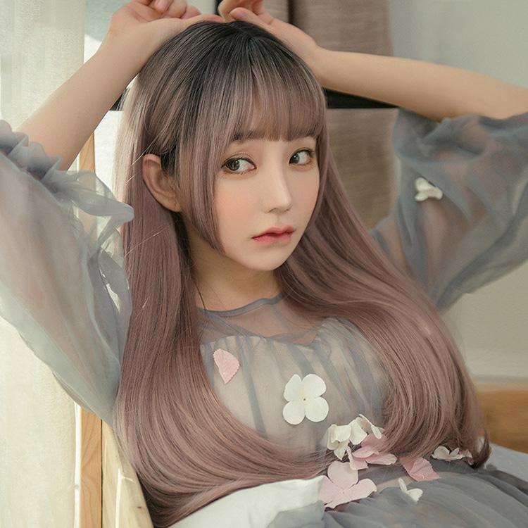 假髮 日系原宿風公主切頭頂漸變薄藤色長直髮【RCHA015】