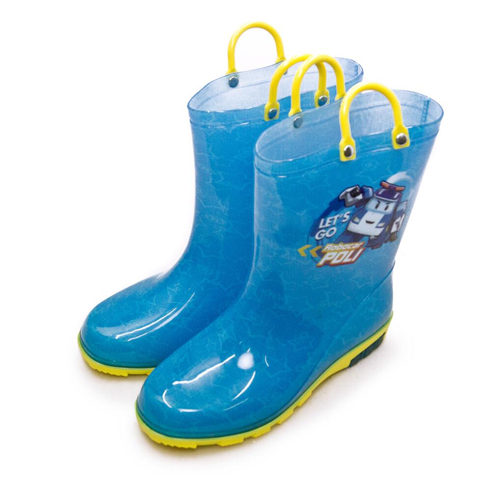 poli波力 中童 16cm-21cm 兒童雨鞋 高筒雨靴 台灣製造 藍黃 01606
